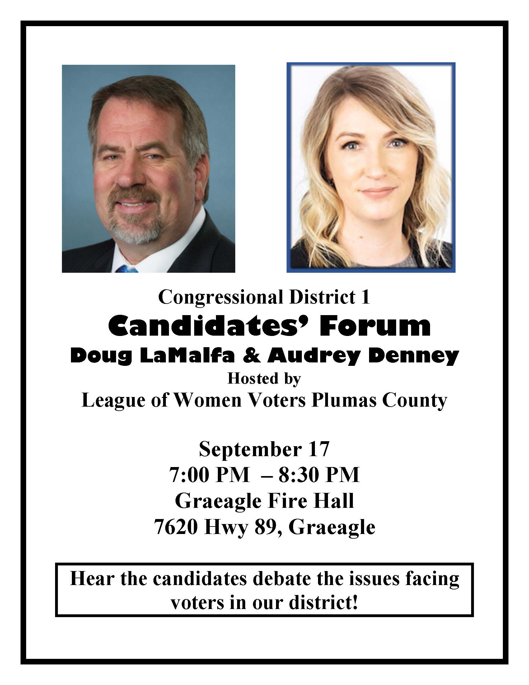 2018 Congressional Candidates Forum Sept 17 in Graeagle